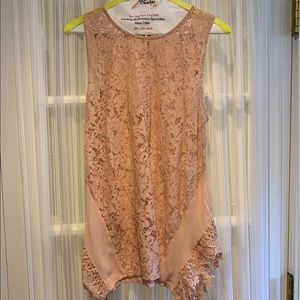 Blush Pink Sleeveless Lace Blouse